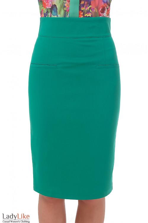 Зеленая юбка с высокой талией Деловая женская одежда