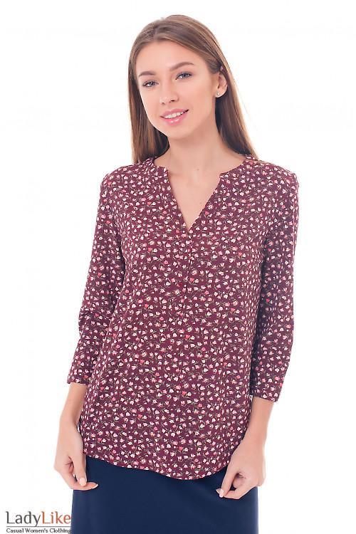 Блузка бордовая в тюльпанчики Деловая женская одежда фото