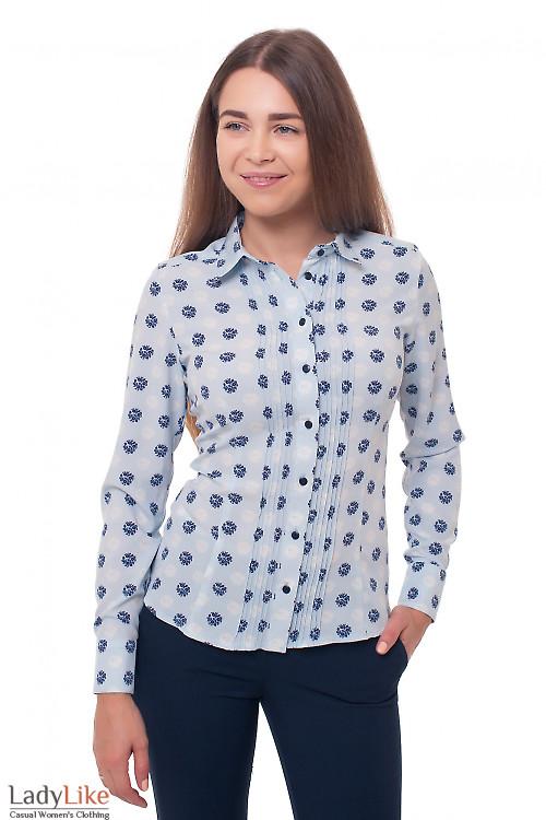 Блузка голубая в синие цветочки Деловая женская одежда фото