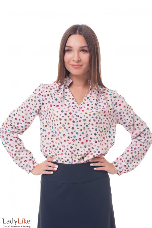 Блузка розовая со стойкой в ромбики Деловая женская одежда фото