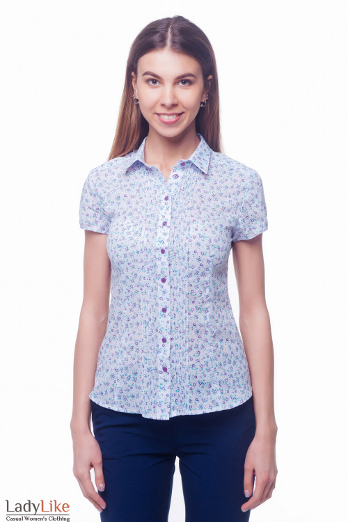 Блузка сиреневая в фиолетовый цветок Деловая женская одежда