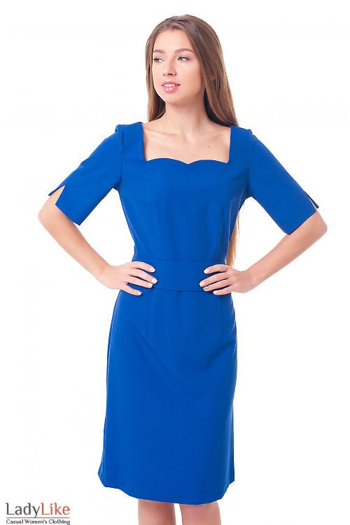 Платье электрик с отрезной талией Деловая женская одежда фото