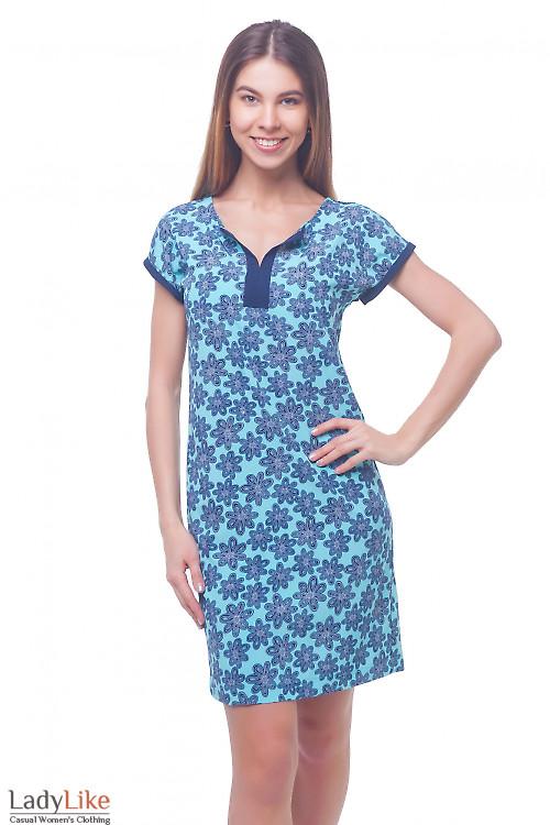 Платье летнее голубое в темно-синие цветы Деловая женская одежда