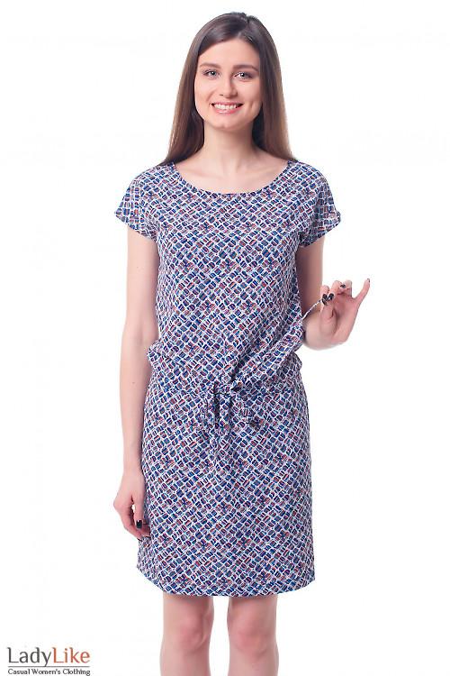 Платье с кулисой в ромбики Деловая женская одежда фото