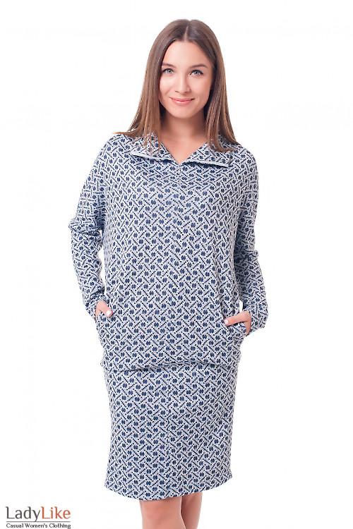 Платье серое в синий кружок Деловая женская одежда фото