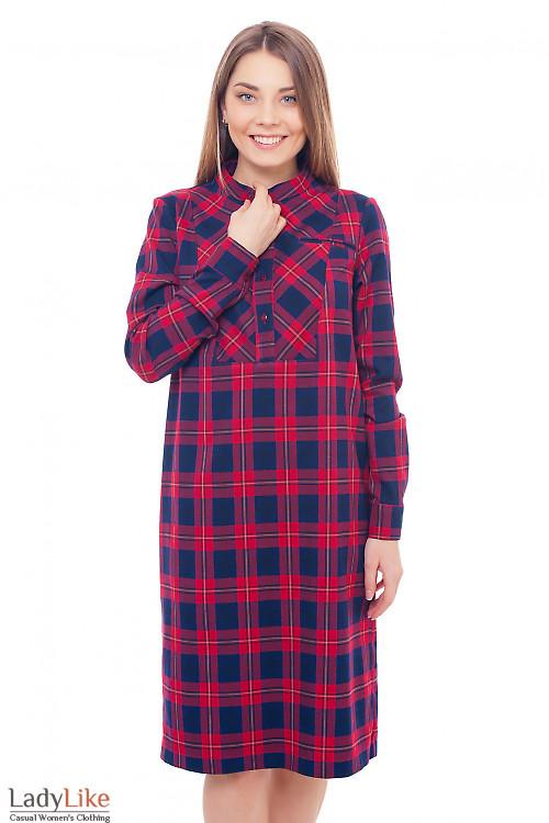 Платье теплое со стойкой в красную клетку Деловая женская одежда фото