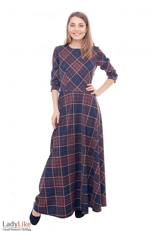 Платье в пол трикотажное в коричневую клетку Деловая женская одежда фото