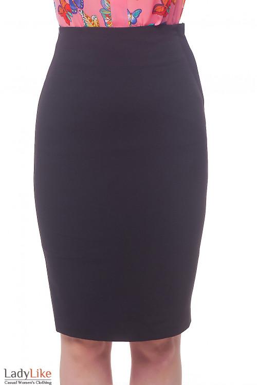 Юбка карандаш черная с высокой талией Деловая женская одежда фото