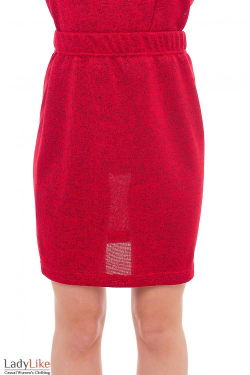 Юбка красная трикотажная Деловая женская одежда фото