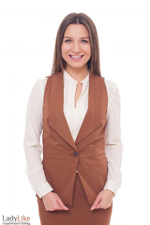 Жилет женский коричневый удлиненный Деловая женская одежда фото