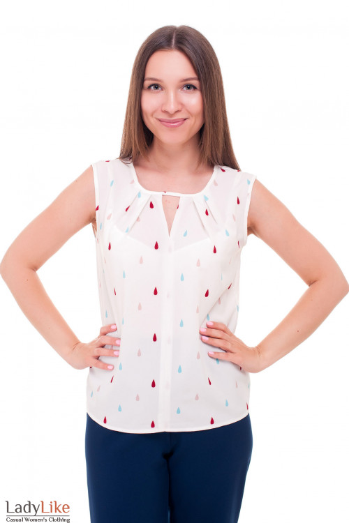 Белая блузка в капельку разноцветную Деловая женская одежда фото