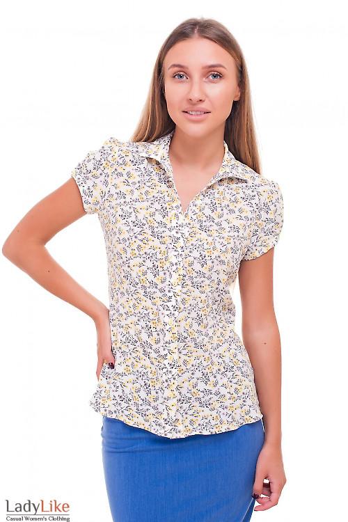 Блузка летняя в желто-серый цветок Деловая женская одежда фото