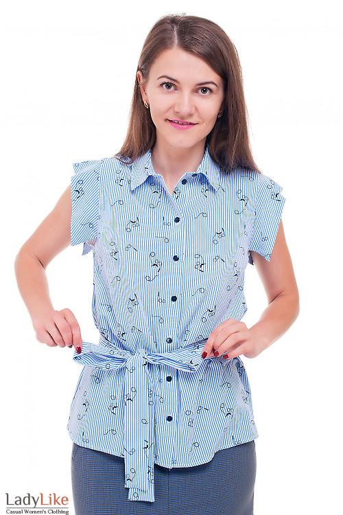 Блузка полосатая в очки  Деловая женская одежда фото