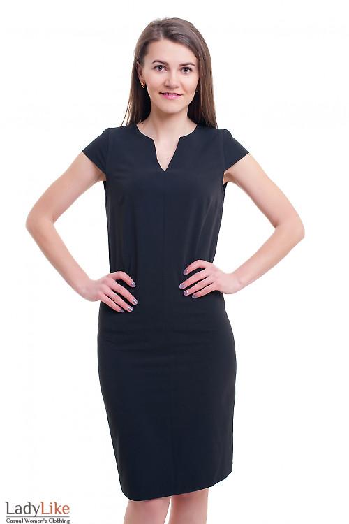 Платье чёрное со строчкой впереди Деловая женская одежда фото