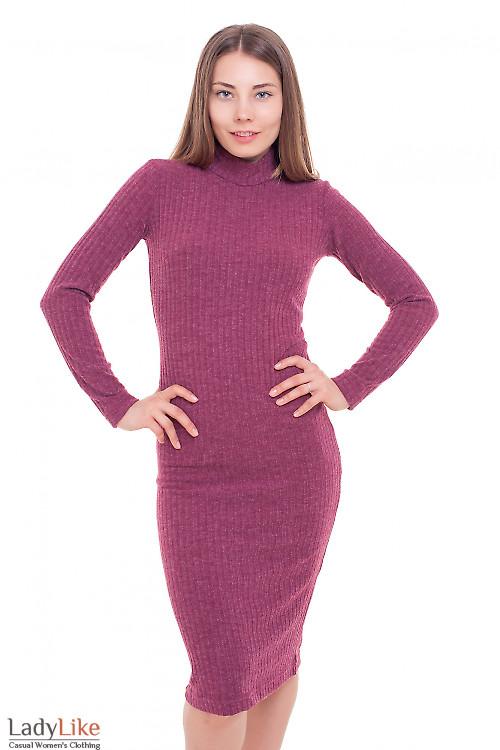 Платье длинное трикотажное бордовое Деловая женская одежда фото