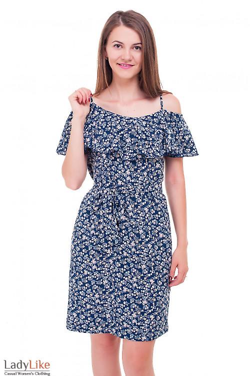 Платье летнее с широким воланом в цветочек Деловая женская одежда фото
