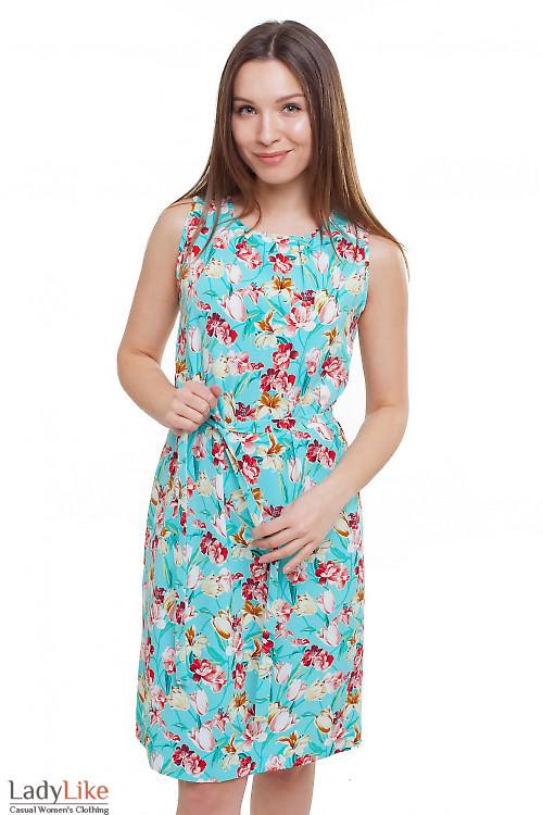 Платье мятное в розы Деловая женская одежда фото