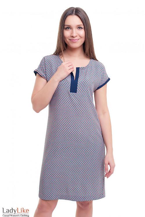 Платье розовое в голубой ромбик Деловая женская одежда фото
