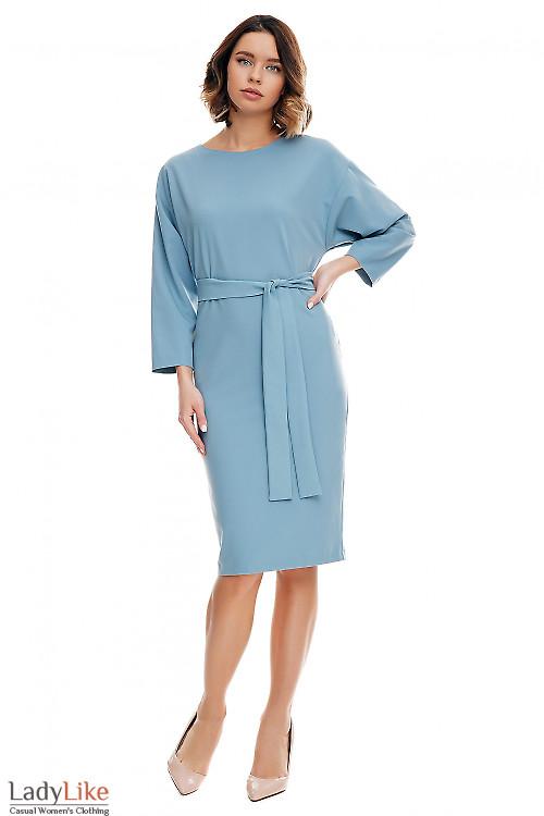 Платье серое с рукавом летучая мышь. Деловая женская одежда фото