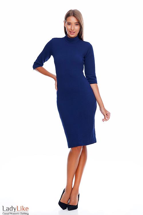 Платье синее с люрексом Деловая женская одежда фото