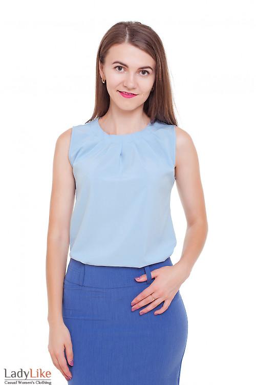 Топ с защипами голубой Деловая женская одежда фото