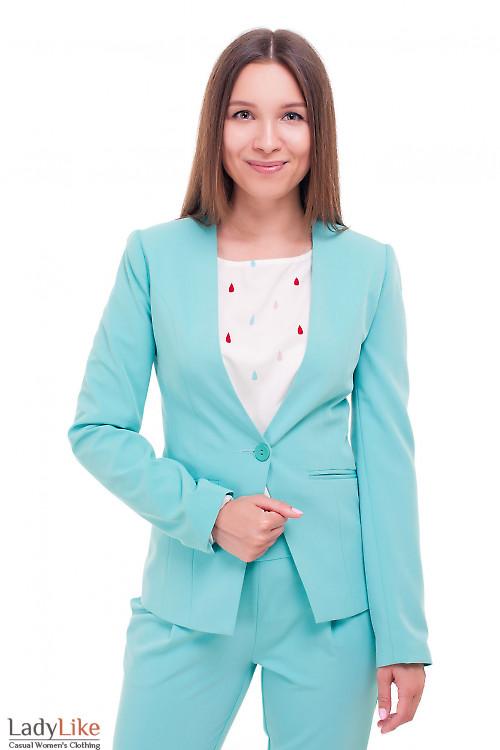 Жакет удлиненный бирюзовый без воротника Деловая женская одежда фото