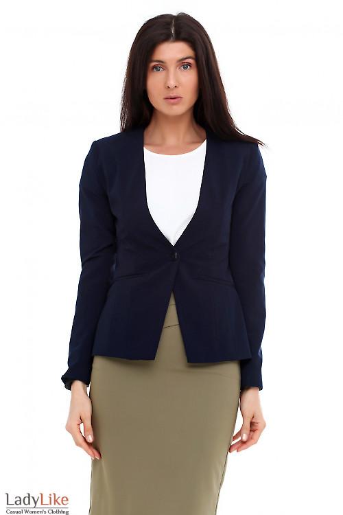 Жакет удлиненный синий без воротника Деловая женская одежда фото