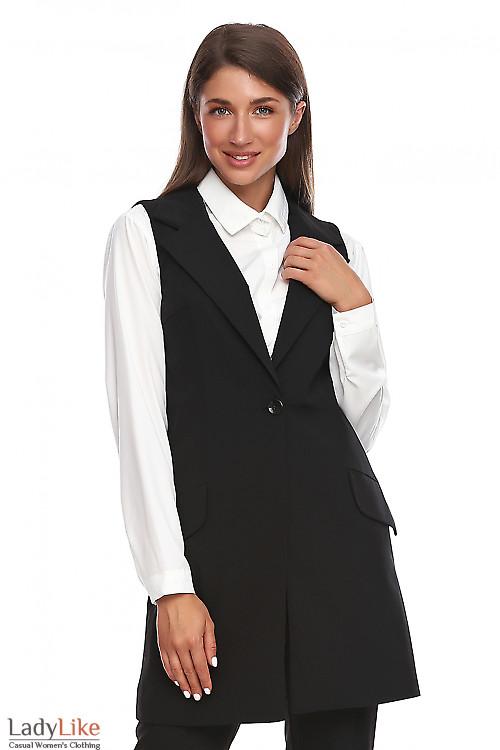 Жилет чёрный женский длинный. Деловая женская одежда фото