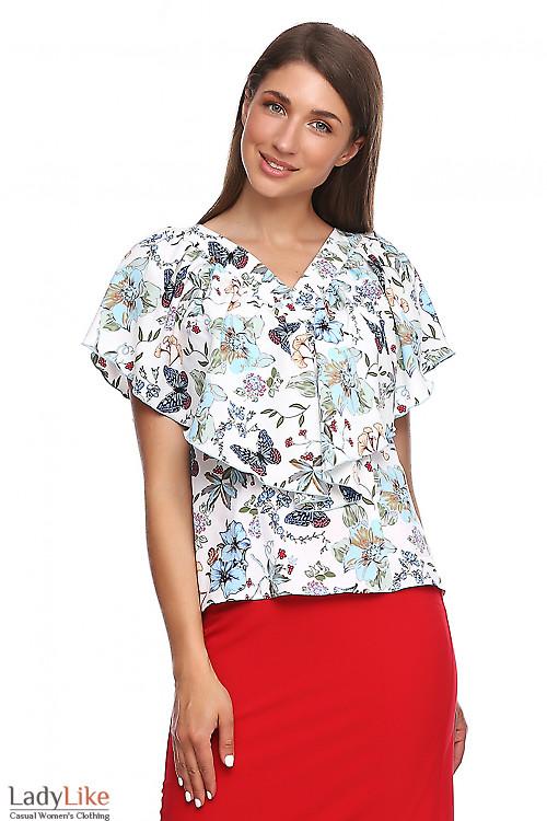 Блузка белая в цветы с пелеринкой. Деловая женская одежда фото