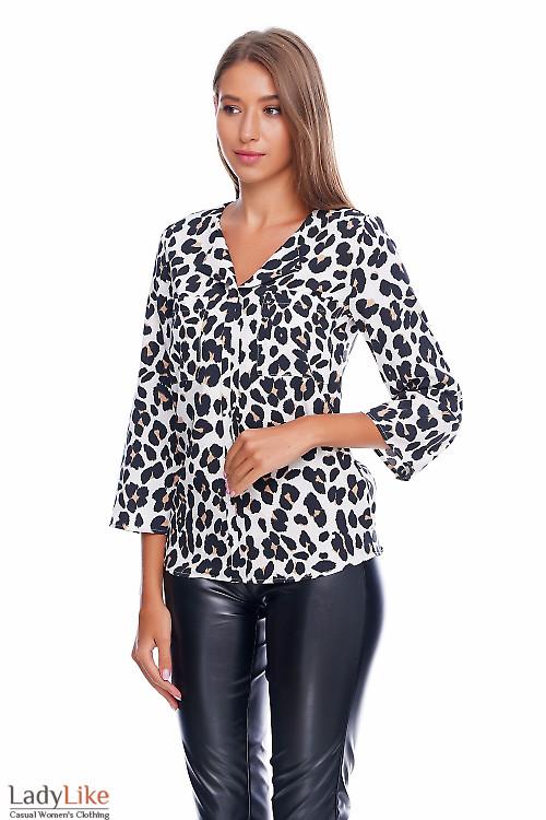 Блузка с леопардовым принтом Деловая женская одежда фото