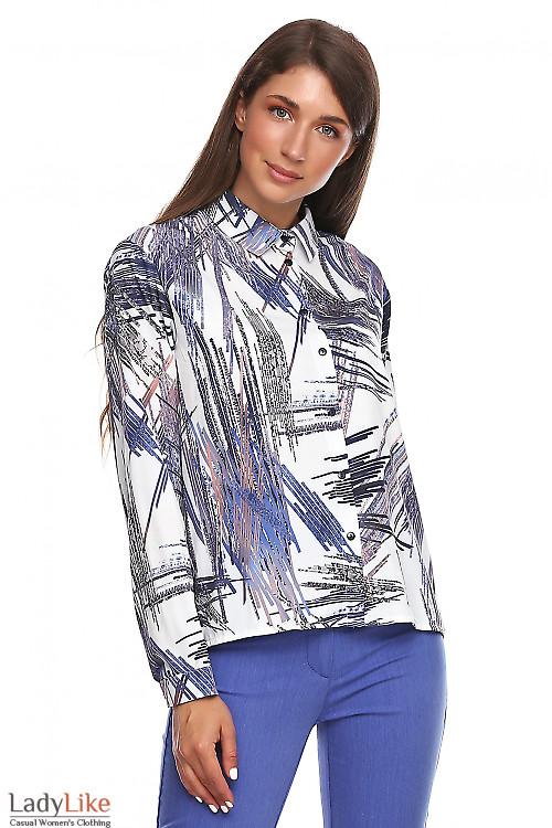 Блузка в полоски с пуговицами сбоку. Деловая женская одежда фото