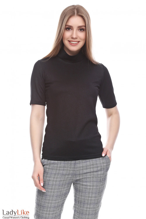 Гольф с коротким рукавом блестящий черный Деловая женская одежда фото