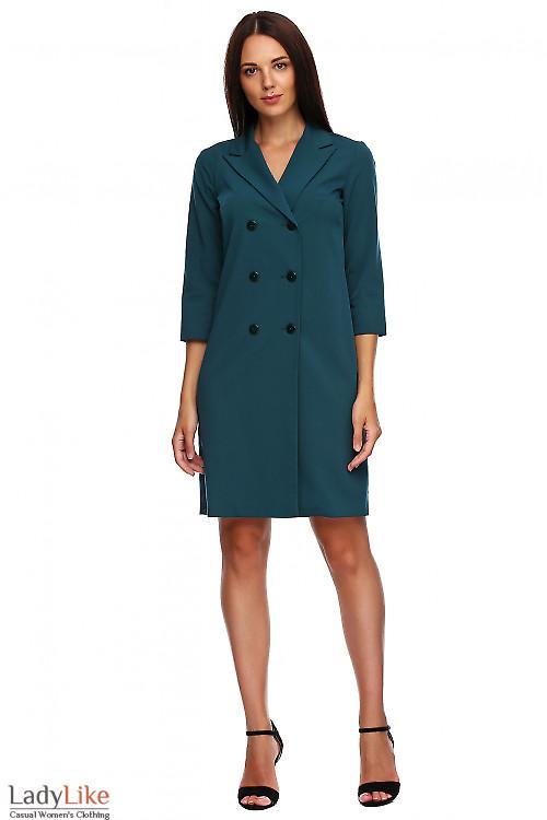 Платье-жакет зеленое. Деловая женская одежда фото