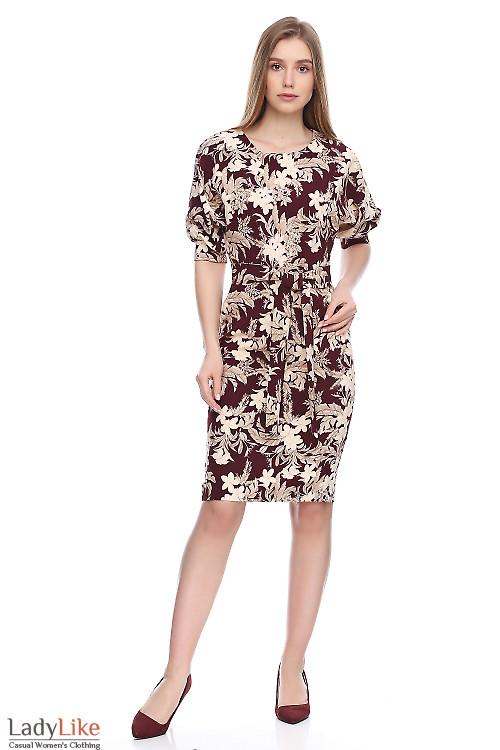 Платье бордовое в белые лилии. Деловая женская одежда фото