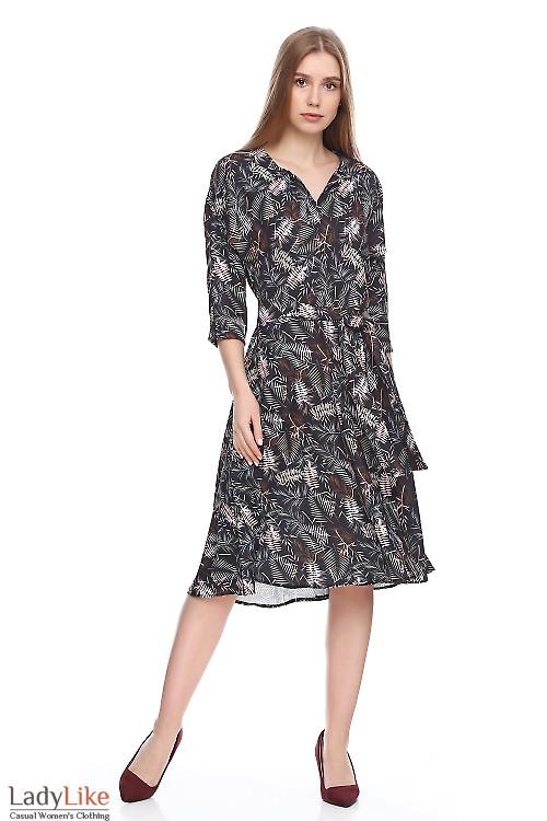 Платье чёрное в пальмовые листья. Деловая женская одежда фото