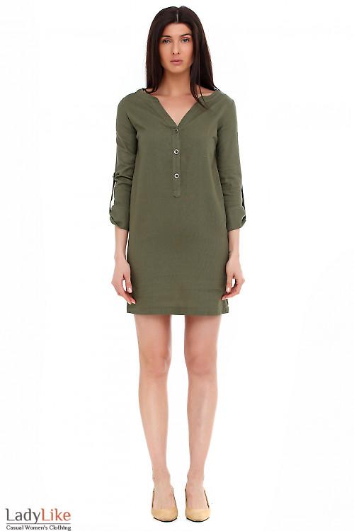 Платье льняное цвета хаки Деловая женская одежда фото