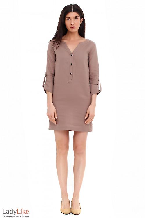 Платье льняное коричневое. Деловая женская одежда фото