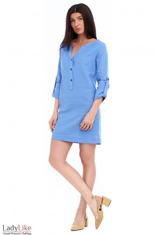 Платье льняное ярко-синее. Деловая женская одежда фото