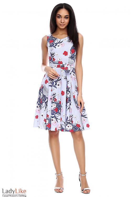 Платье полосатое из хлопка в цветы Деловая женская одежда фото