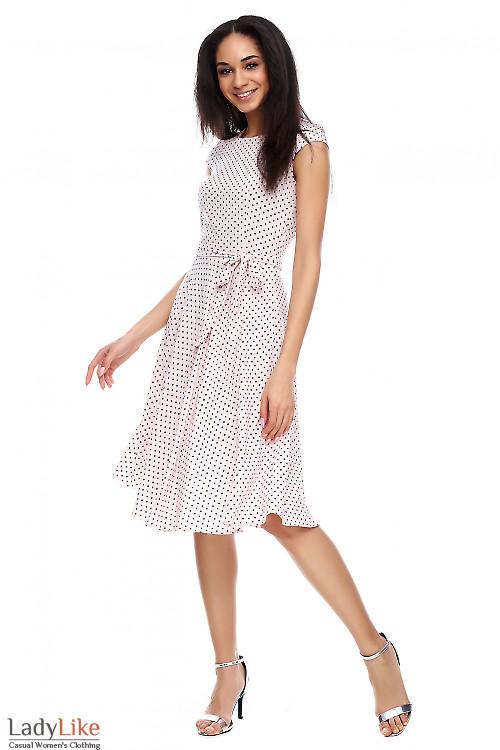 Платье пышное в мелкий горошек Деловая женская одежда фото