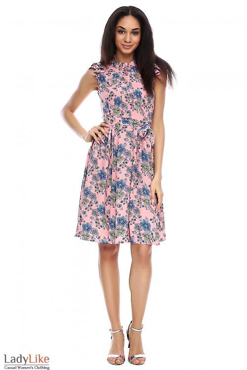 Платье розовое в синие цветы Деловая женская одежда фото