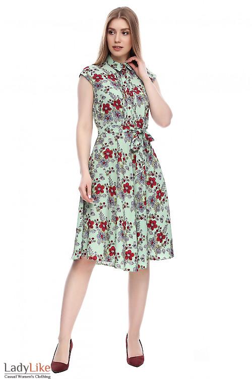 Платье салатовое в цветы Деловая женская одежда фото