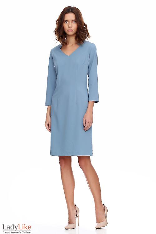 Платье серое со стойкой. Деловая женская одежда фото
