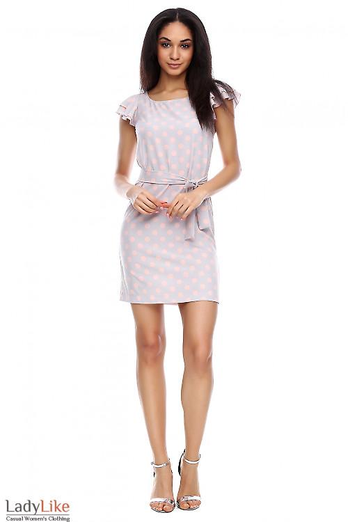 Платье серое в розовый горох Деловая женская одежда фото