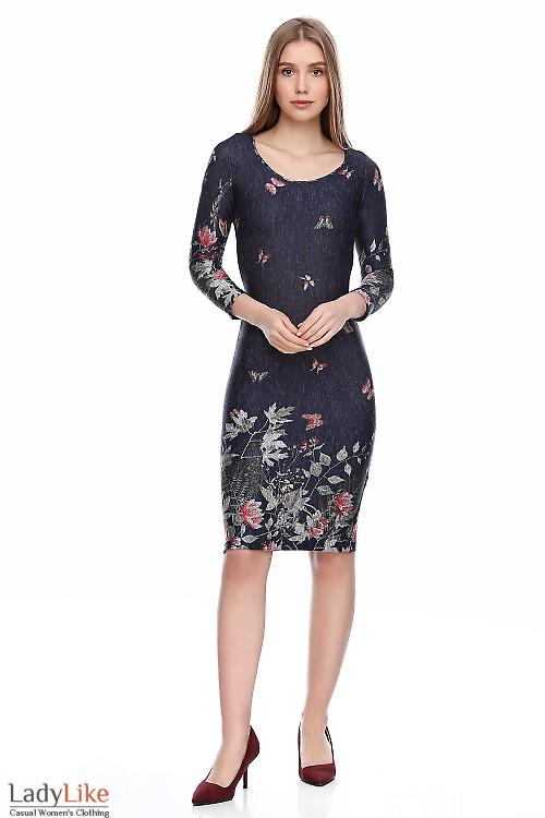 Платье синее из ангоры с купоном. Деловая женская одежда фото