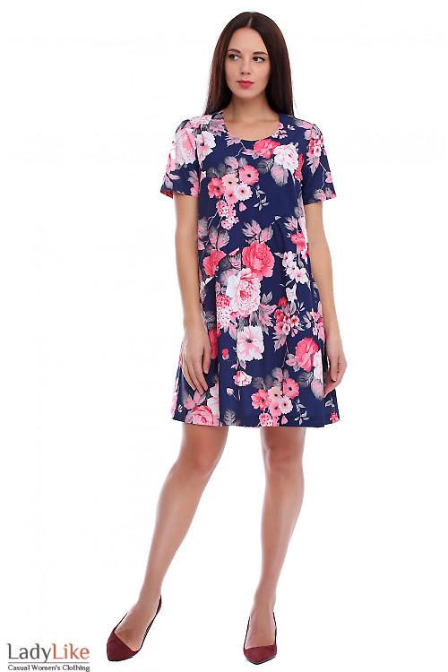 Платье синее в коралловые цветочки. Деловая женская одежда фото