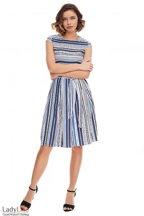 Платье в синюю полосу с пышной юбкой Деловая женская одежда фото