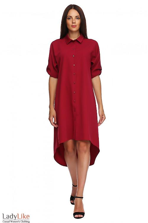 Платье вишневое с неровным низом. Деловая женская одежда фото