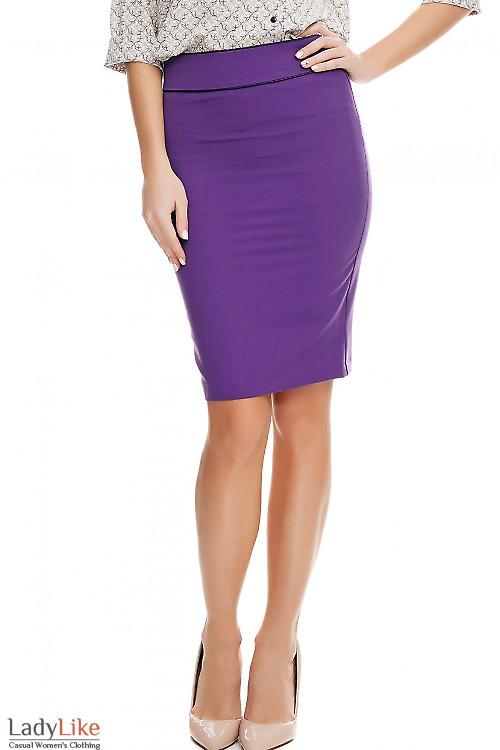 Юбка фиолетовая с кантом Деловая женская одежда фото