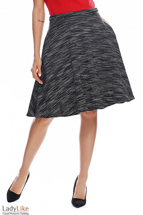 Юбка тёплая полусолнце серого цвета. Деловая женская одежда фото